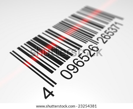 Bar code scanning. Digitally generated image.