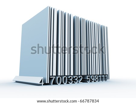 Bar code - this is a 3d render illustration - stock photo