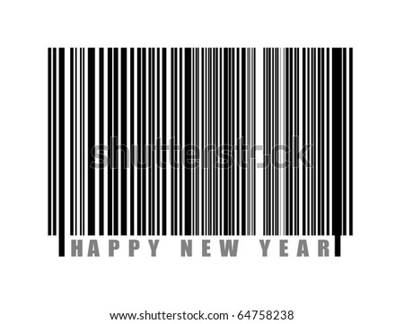 Bar code with happy new year text