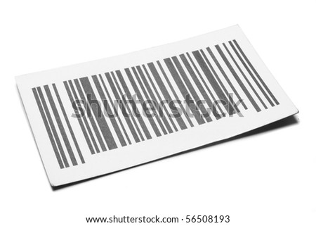 bar codes on paper isolated - stock photo