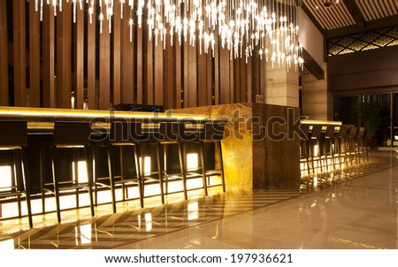 bar counter  in empty comfortable restaurant - stock photo