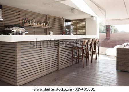 Bar counter in Interior modern floating restaurant  - stock photo