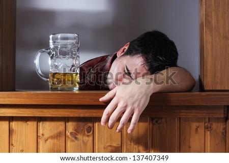 bar drinking drunk guy - stock photo