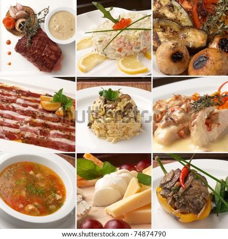 bar food collage - stock photo