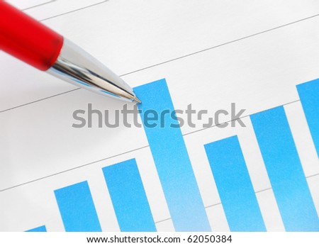 Bar graph and pen - stock photo