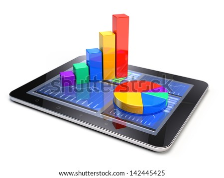 Bar graph and pie chart on tablet pc - Business statistic concept - stock photo