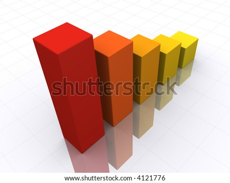Bar graph in perspective - stock photo