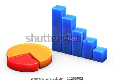 Bar graph isolated over a white background