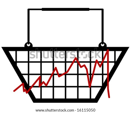bar graph made out of a shopping basket - stock photo