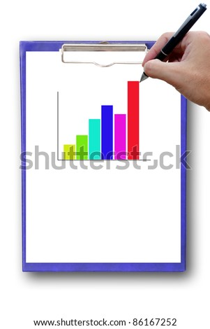 Bar Graph On Paper with hand. - stock photo