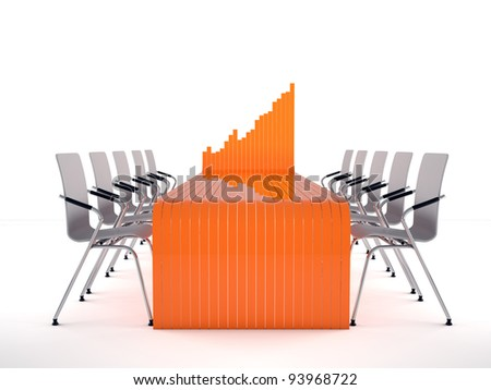 Bar graph table and chairs on white background - stock photo