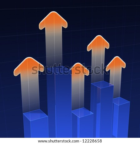 Bar graph with arrows - stock photo