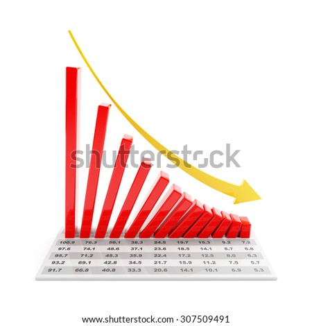 Bar graph with data showing falling trend, 3d render