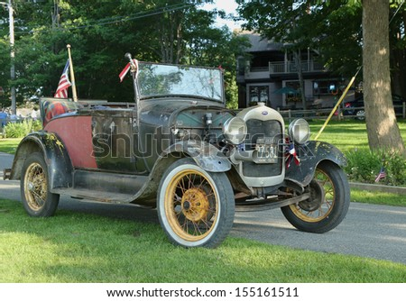 BAR HARBOR, MAINE - JULY 4: Historical 1929 model A Ford  in Bar Harbor on July 4, 2013  The Ford Model A was the second huge success for the Ford Motor Company, after its predecessor, the Model T - stock photo