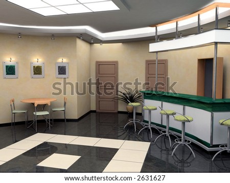 Bar in a hall of hotel - stock photo