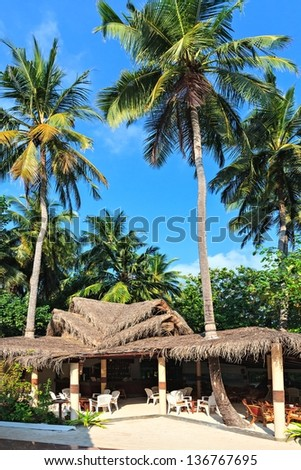 Bar in trpical hotel, Malduves, The Indian Ocean - stock photo