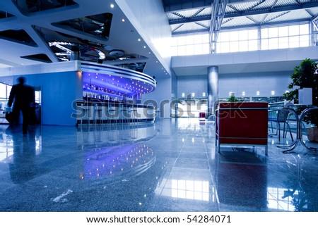 Bar interior in modern office centre - stock photo