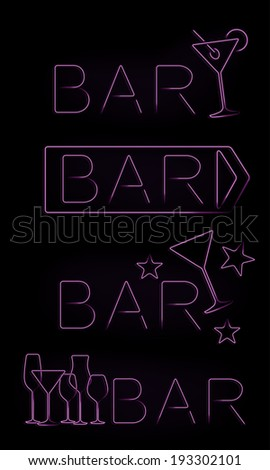 Bar neon signs set - stock photo