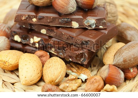 bar of chocolate and nuts on a wicker mat