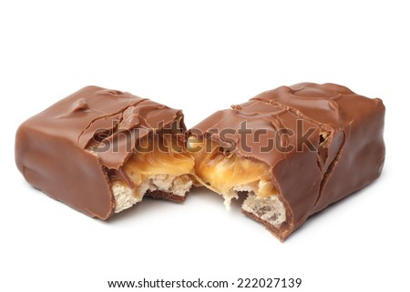 Bar of chocolate on whire background - stock photo