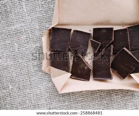 Bar Of Dark Chocolate Top View - stock photo