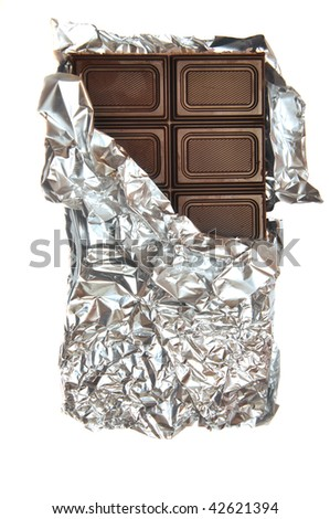bar of milk chocolate in foil - stock photo