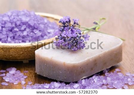 bar of natural soap and bath salt - stock photo