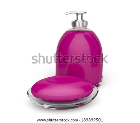 Bar of soap and bottle of liquid soap on white background - stock photo