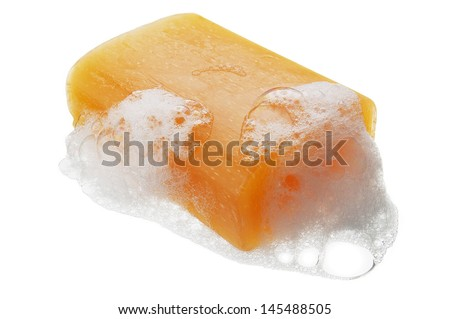 Bar of Soap with Suds - stock photo