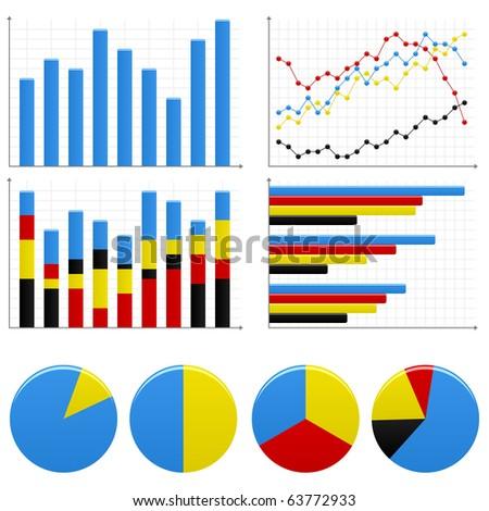 Bar Pie Graph Chart - stock photo