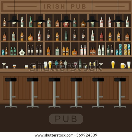 Bar Restaurant with counter in flat style. Banner of interior with bar counter, bar chairs and shelves with alcohol. Raster version.