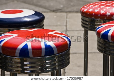 Bar seats with the Union Jack printed