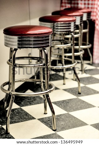 Bar stools in a vintage diner