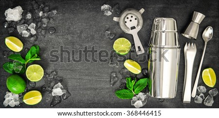Bar tools. Ingredients for mojito lime, mint leaves, ice. Cold drink - stock photo