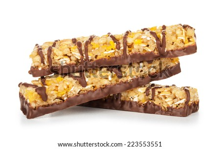 bar with grains and nuts and chocolate on isolated white - stock photo