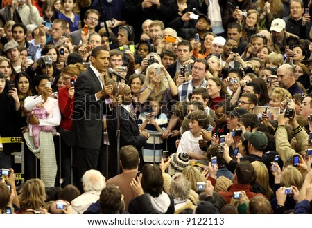 Barack Obama giving a speech at the University of Denver, with hopes of being the Democrat running for president - stock photo