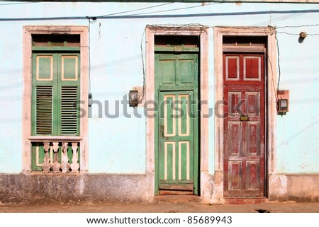 Baracoa, Cuba - colonial architecture. Colorful street view.