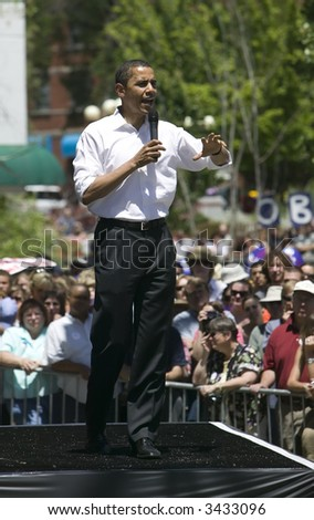 Barak Obama giving a campaign speech in Reno, Nevada.