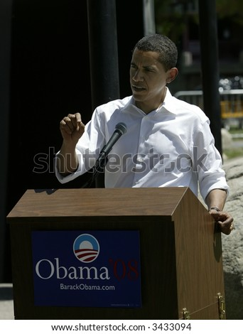 Barak Obama giving a press conference in Reno following a campaign rally and speech - stock photo