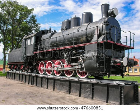 Baranovichi, Belarus, August 3, 2016: Exhibit of the museum of railway equipment  is on the pedestal at Baranovichi station