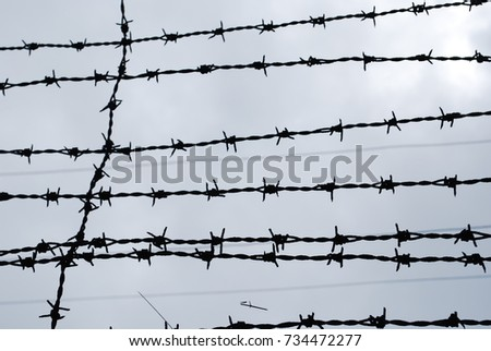 barbed wire fence concentration camp. Barb Wire Fence At Concentration Camp - World War Two Nazi Jewish Barbed