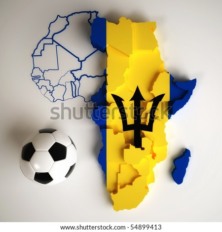 Barbadian flag on map of Africa with national borders - stock photo