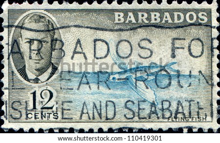 BARBADOS - CIRCA 1950: A stamp printed in Barbados shows flying fish, circa 1950