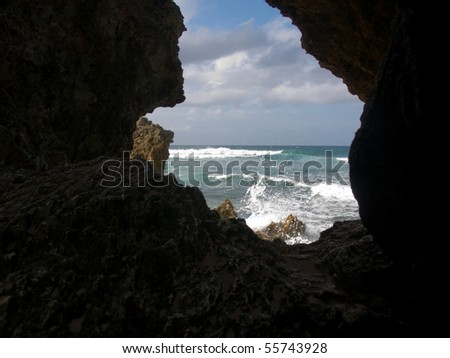 Barbados Rocky Shoreline - stock photo