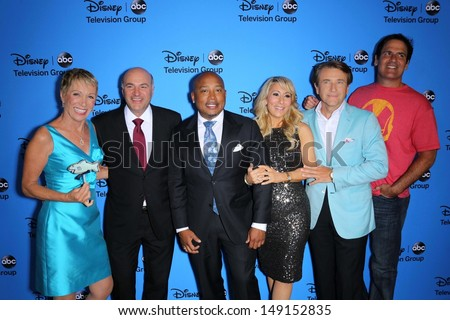 Barbara Corcoran, Daymond John, Kevin O'Leary, Lori Greiner, Robert Herjavec and Mark Cuban at the Disney/ABC Summer 2013 TCA Press Tour, Beverly Hilton, Beverly Hills, CA 08-04-13 - stock photo