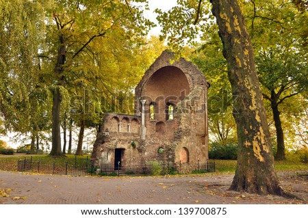 Barbarossa-ruins part of the valkhof in the old city of Nijmegen in the Netherlands - stock photo