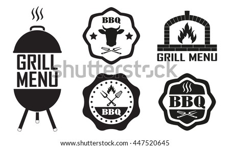 Barbecue and grill labels set. BBQ emblems and badges collection. Restaurant menu design elements. - stock photo