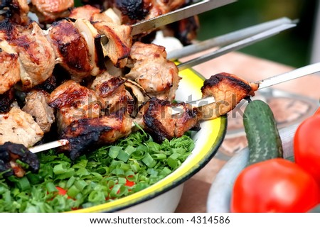 barbecue and vegetables - stock photo