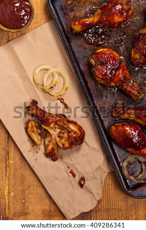 Barbecue BBQ Buffalo Chicken Drumsticks. Selective focus. - stock photo