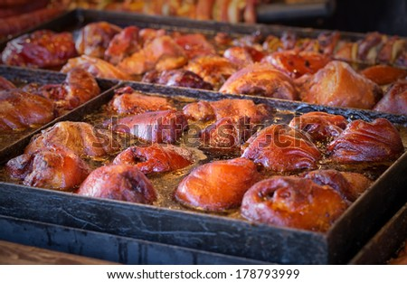 Barbecue BBQ food frying in a pan with oil. Fast food - stock photo